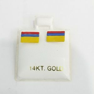 Jewelry - 14k yellow gold Colombia flag earrings